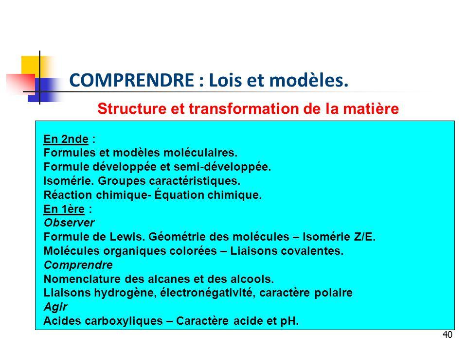 40 Structure et transformation de la matière En 2nde : Formules et modèles moléculaires. Formule développée et semi-développée. Isomérie. Groupes cara
