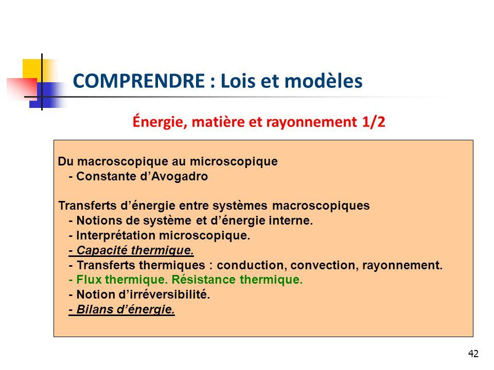 42 COMPRENDRE : Lois et modèles Énergie, matière et rayonnement 1/2 Du macroscopique au microscopique - Constante dAvogadro Transferts dénergie entre systèmes macroscopiques - Notions de système et dénergie interne.