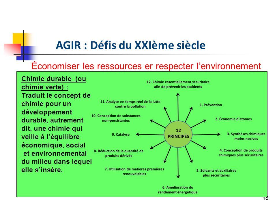 48 AGIR : Défis du XXIème siècle Économiser les ressources er respecter lenvironnement Chimie durable (ou chimie verte) : Traduit le concept de chimie pour un développement durable, autrement dit, une chimie qui veille à léquilibre économique, social et environnemental du milieu dans lequel elle sinsère.
