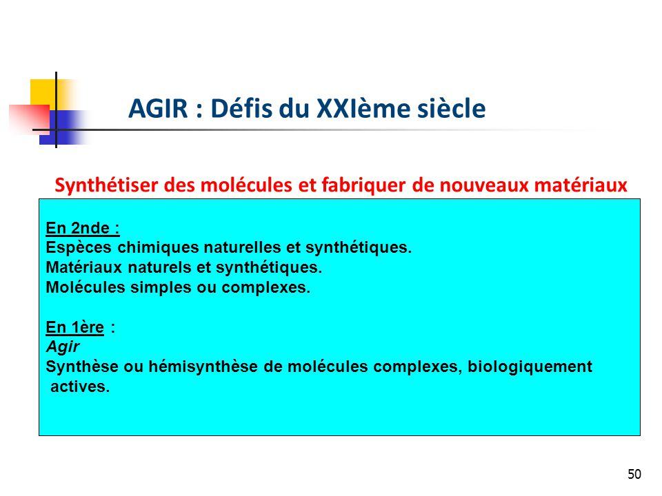 50 AGIR : Défis du XXIème siècle Synthétiser des molécules et fabriquer de nouveaux matériaux En 2nde : Espèces chimiques naturelles et synthétiques.