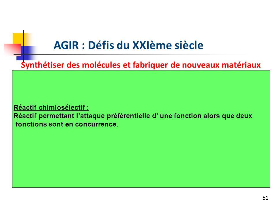 51 AGIR : Défis du XXIème siècle Synthétiser des molécules et fabriquer de nouveaux matériaux Réactif chimiosélectif : Réactif permettant lattaque préférentielle d une fonction alors que deux fonctions sont en concurrence.