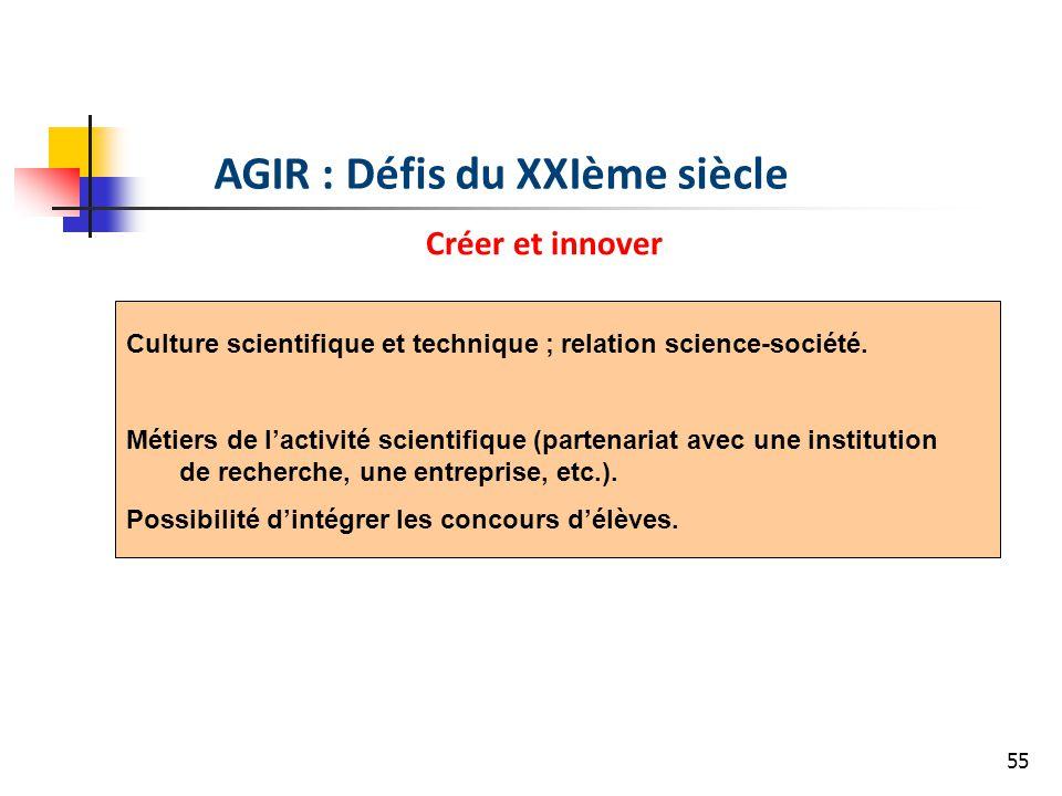 55 AGIR : Défis du XXIème siècle Créer et innover Culture scientifique et technique ; relation science-société. Métiers de lactivité scientifique (par