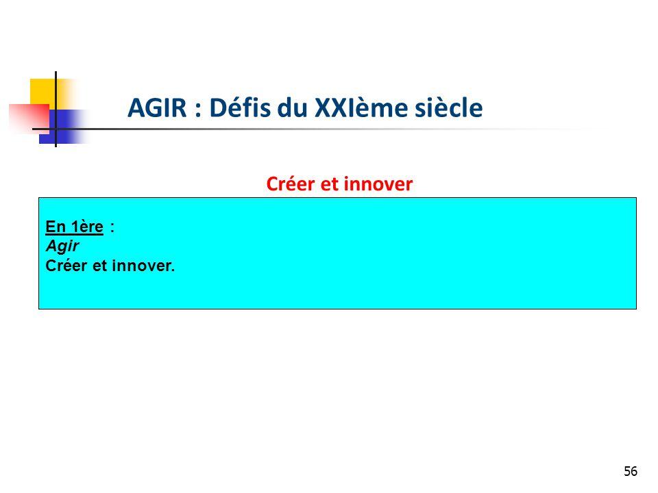 56 AGIR : Défis du XXIème siècle Créer et innover En 1ère : Agir Créer et innover.