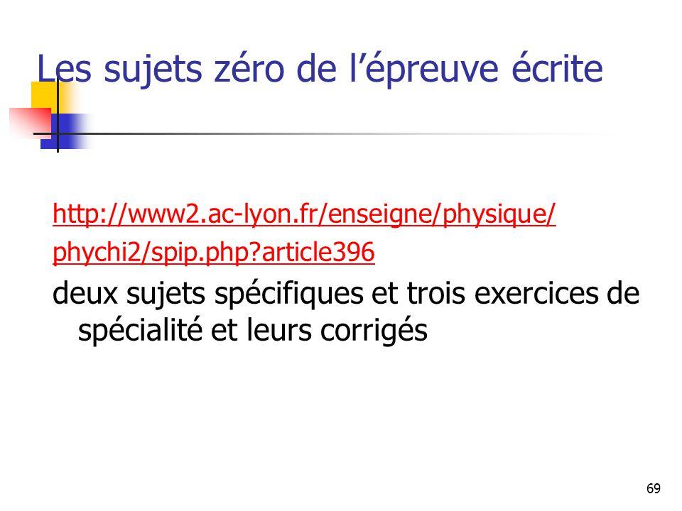 69 Les sujets zéro de lépreuve écrite http://www2.ac-lyon.fr/enseigne/physique/ phychi2/spip.php?article396 deux sujets spécifiques et trois exercices de spécialité et leurs corrigés