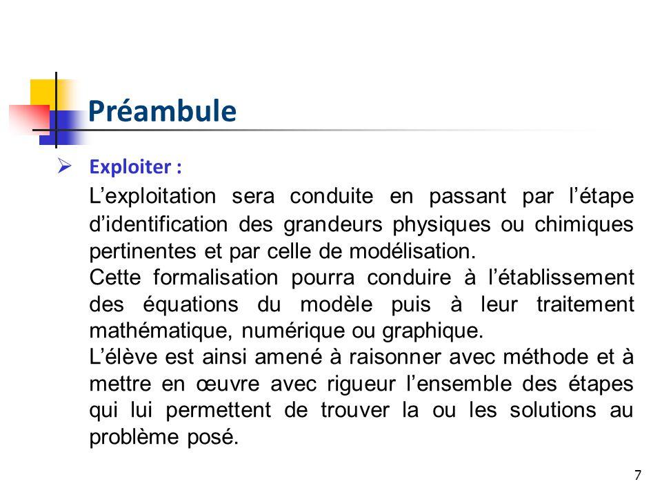 7 Exploiter : Lexploitation sera conduite en passant par létape didentification des grandeurs physiques ou chimiques pertinentes et par celle de modélisation.