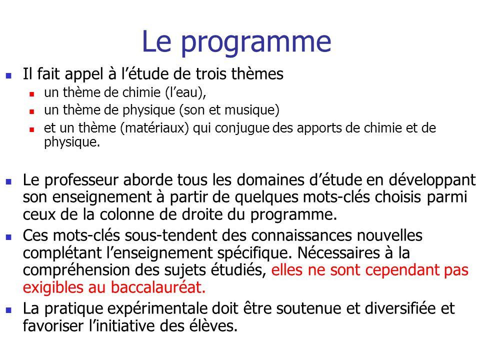 Le programme Il fait appel à létude de trois thèmes un thème de chimie (leau), un thème de physique (son et musique) et un thème (matériaux) qui conjugue des apports de chimie et de physique.
