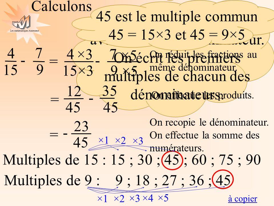 Les mathématiques Autrement Calculons 4 15 = 7 9 - On doit écrire les fractions avec le même dénominateur. On écrit les premiers multiples de chacun d