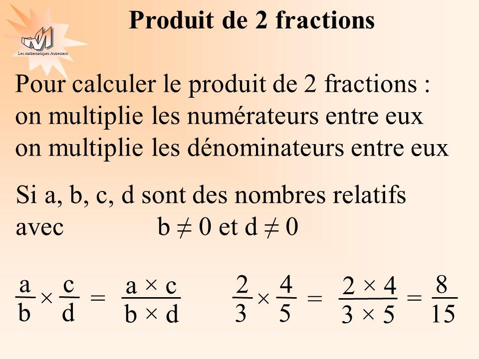 Les mathématiques Autrement Produit de 2 fractions Pour calculer le produit de 2 fractions : on multiplie les numérateurs entre eux on multiplie les d