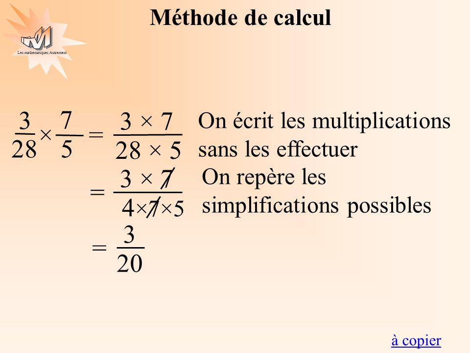 Les mathématiques Autrement Méthode de calcul 3 28 7 5 ×= 3 × 7 28 × 5 On écrit les multiplications sans les effectuer 3 20 = 3 × 7 4 ×7×5 = On repère
