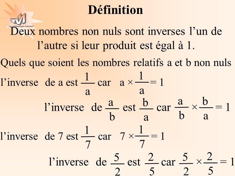 Les mathématiques Autrement Définition Deux nombres non nuls sont inverses lun de lautre si leur produit est égal à 1. Quels que soient les nombres re