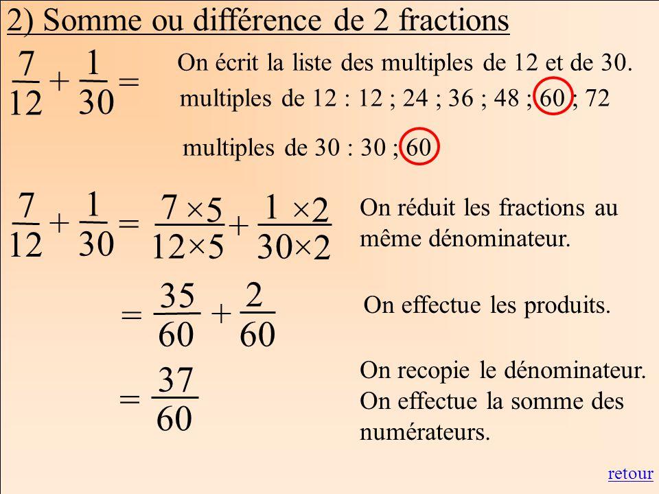 Les mathématiques Autrement 7 12 = 1 30 + multiples de 12 : 12 ; 24 ; 36 ; 48 ; 60 ; 72 multiples de 30 : 30 ; 60 7 12 1 30 + ×5 ×2 On réduit les frac