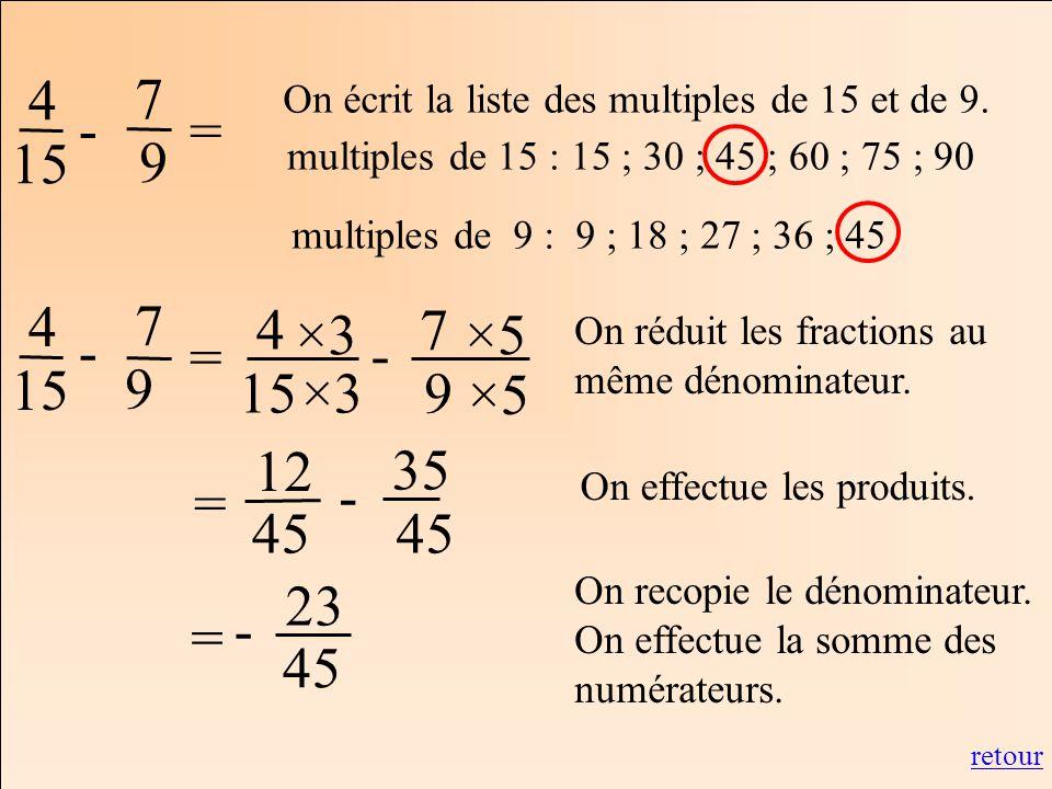 Les mathématiques Autrement 4 15 = 7 9 - multiples de 15 : 15 ; 30 ; 45 ; 60 ; 75 ; 90 multiples de 9 : 9 ; 18 ; 27 ; 36 ; 45 4 15 7 9 - ×3 ×5 On rédu