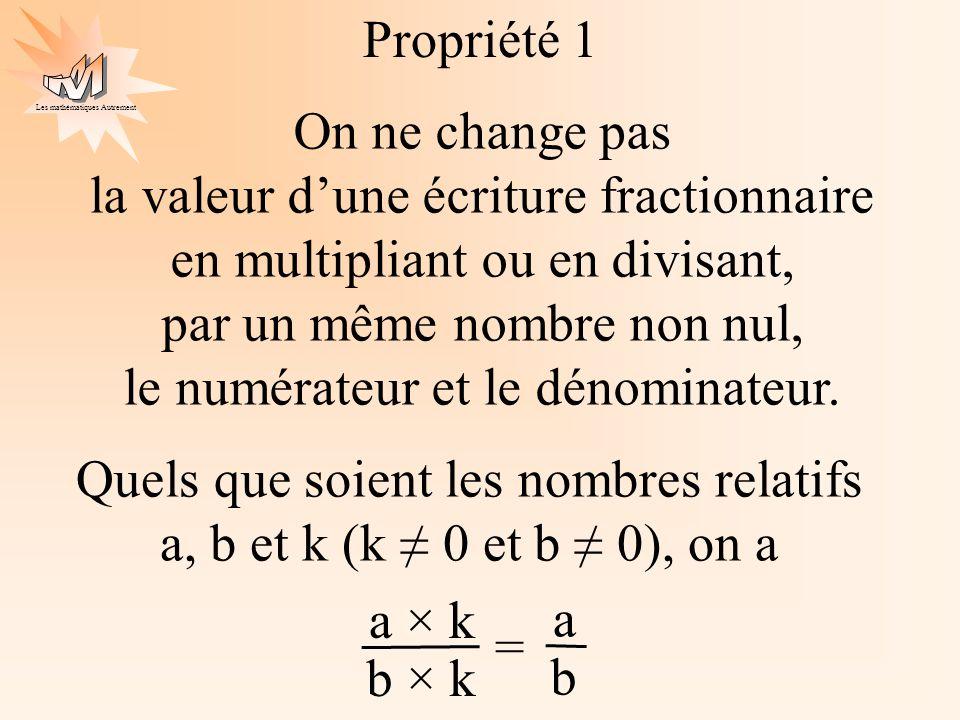 Les mathématiques Autrement On ne change pas la valeur dune écriture fractionnaire en multipliant ou en divisant, par un même nombre non nul, le numér