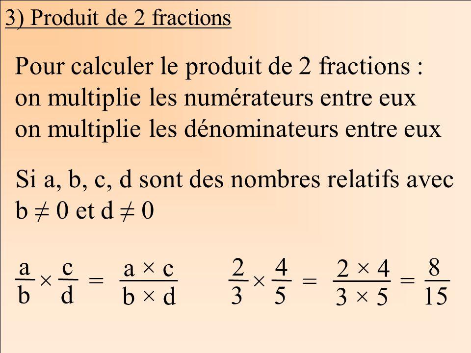 Les mathématiques Autrement 3) Produit de 2 fractions Pour calculer le produit de 2 fractions : on multiplie les numérateurs entre eux on multiplie le