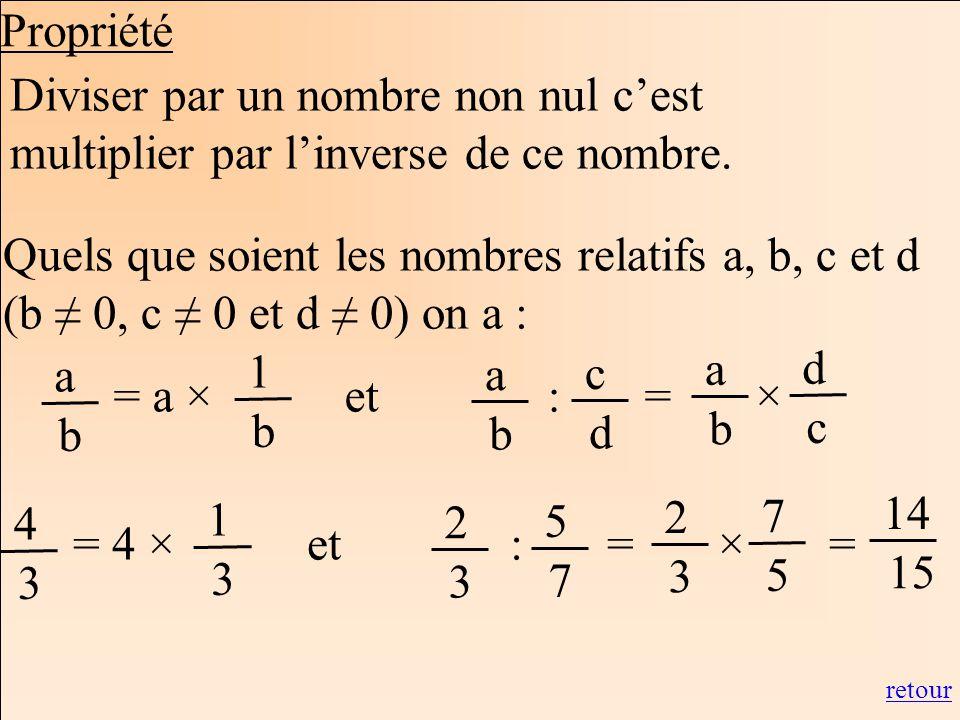 Les mathématiques Autrement Diviser par un nombre non nul cest multiplier par linverse de ce nombre. Quels que soient les nombres relatifs a, b, c et