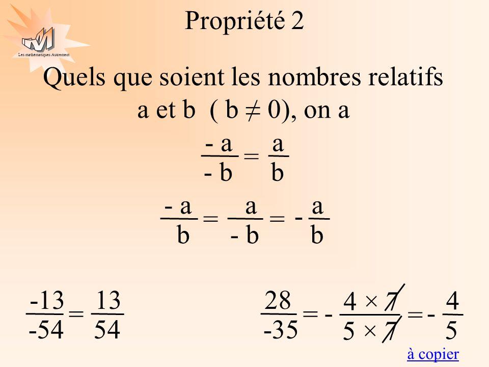 Les mathématiques Autrement Propriété 2 Quels que soient les nombres relatifs a et b ( b 0), on a a b - a - b = a - a b = a b = - 4 × 7 5 × 7 28 -35 =