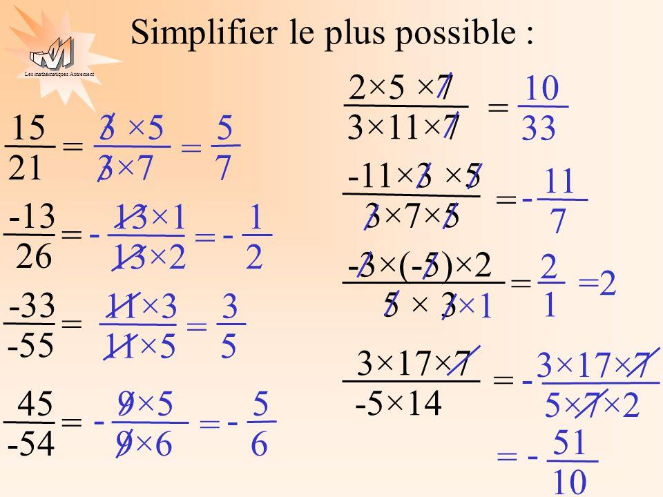 Les mathématiques Autrement Simplifier le plus possible : 15 21 = -13 26 = -33 -55 = 45 -54 = 2×5 ×7 3×11×7 = -11×3 ×5 3×7×5 = -3×(-5)×2 5 × 3 = 3×17×