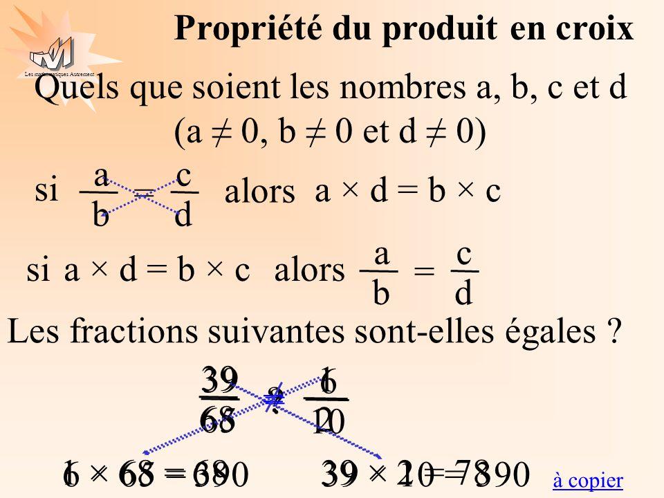 Les mathématiques Autrement Propriété du produit en croix Quels que soient les nombres a, b, c et d (a 0, b 0 et d 0) c d a b = si alors a × d = b × c
