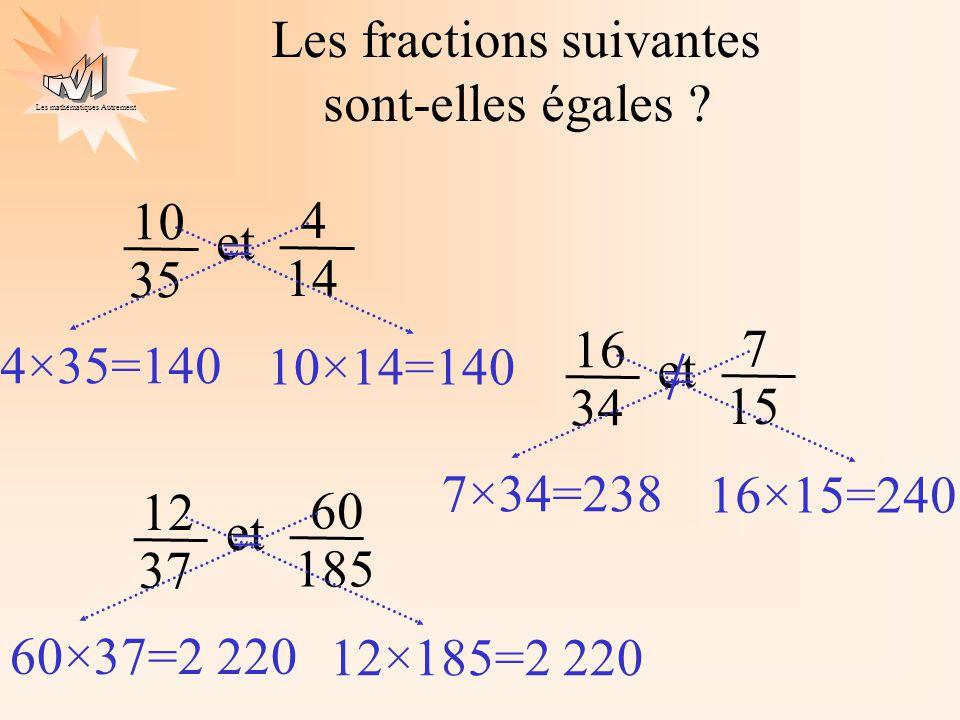 Les mathématiques Autrement Les fractions suivantes sont-elles égales ? 10 35 et 4 14 4×35=140 10×14=140 = 16 34 et 7 15 7×34=238 16×15=240 = 12 37 et