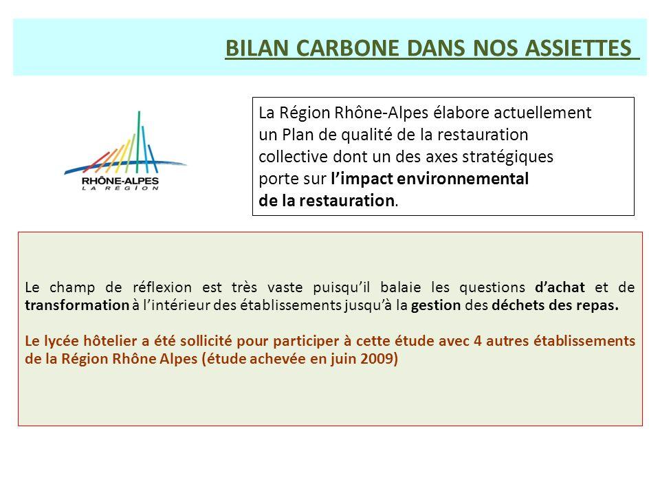 BILAN CARBONE DANS NOS ASSIETTES La Région Rhône-Alpes élabore actuellement un Plan de qualité de la restauration collective dont un des axes stratégi