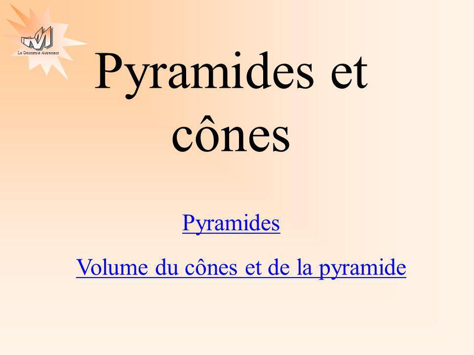 La Géométrie Autrement Pyramides et cônes Pyramides Volume du cônes et de la pyramide
