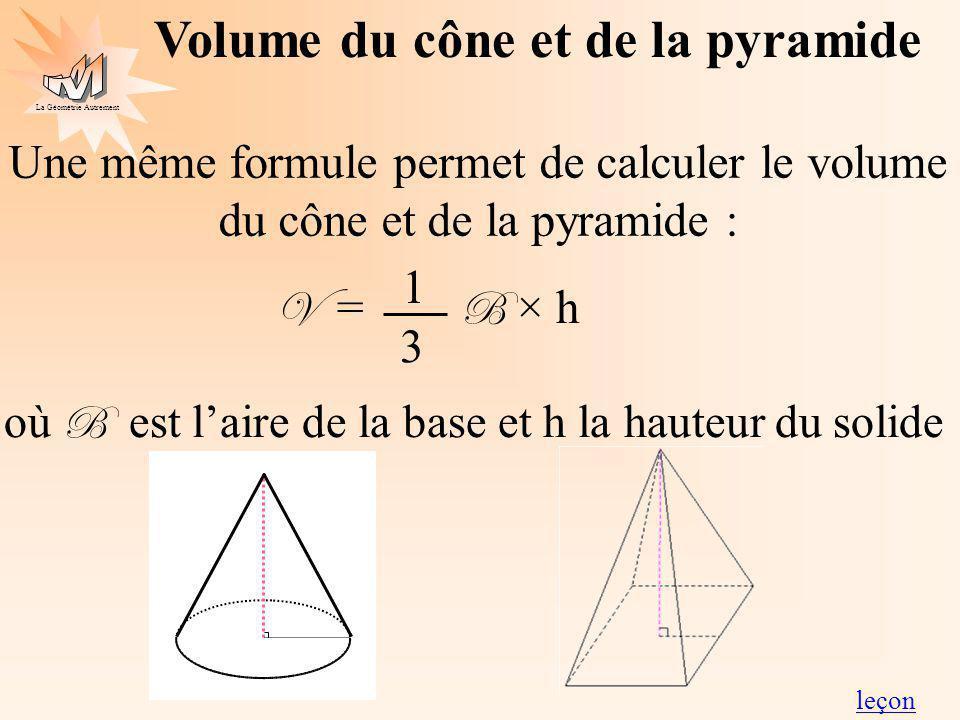La Géométrie Autrement Volume du cône et de la pyramide Une même formule permet de calculer le volume du cône et de la pyramide : V = B × h où B est l