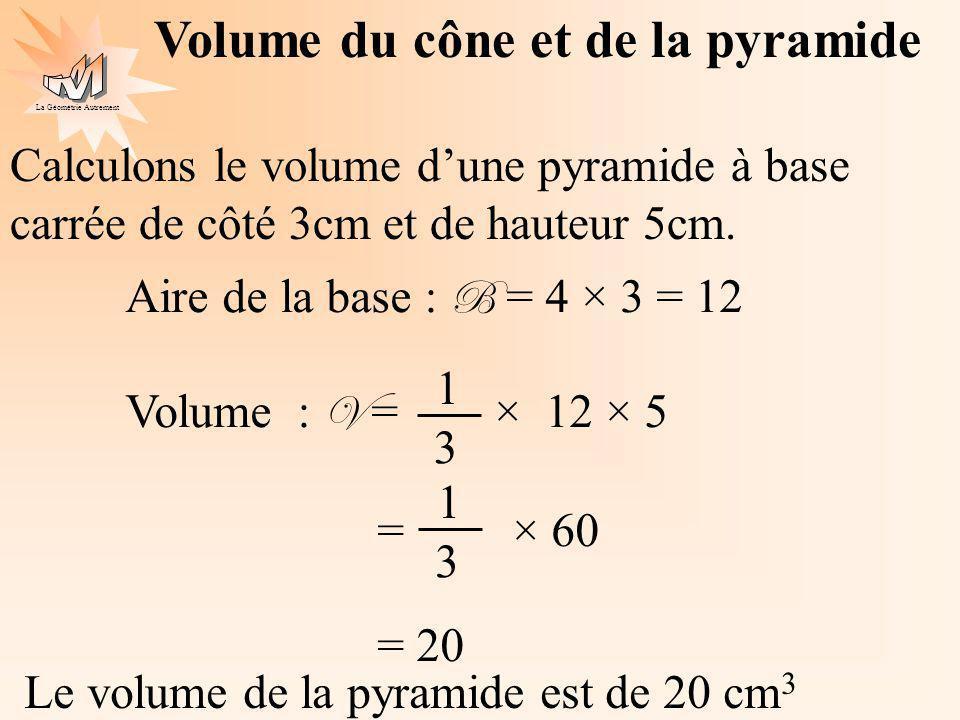 La Géométrie Autrement Volume du cône et de la pyramide Calculons le volume dune pyramide à base carrée de côté 3cm et de hauteur 5cm. Aire de la base