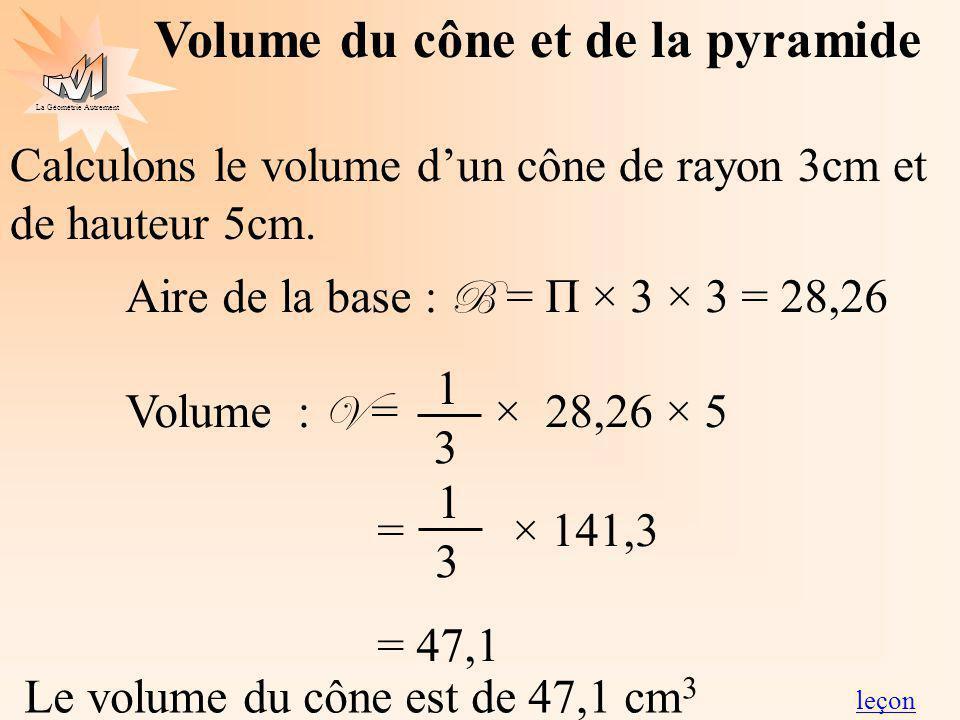 La Géométrie Autrement Volume du cône et de la pyramide Calculons le volume dun cône de rayon 3cm et de hauteur 5cm. Aire de la base : B = Π × 3 × 3 =