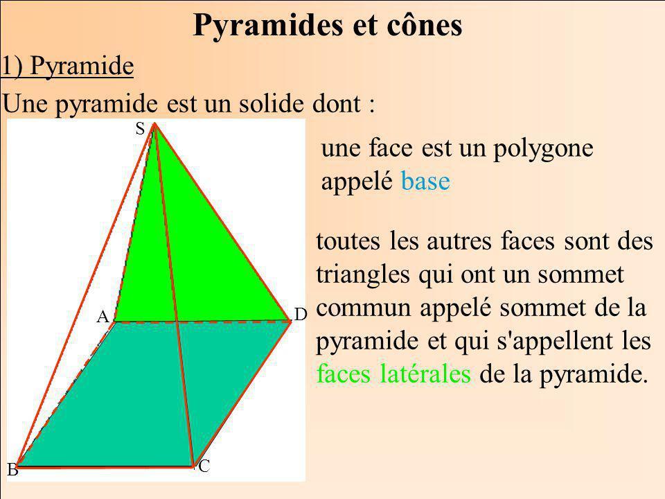 La Géométrie Autrement Pyramides et cônes 1) Pyramide S A B C D Une pyramide est un solide dont : une face est un polygone appelé base toutes les autres faces sont des triangles qui ont un sommet commun appelé sommet de la pyramide et qui s appellent les faces latérales de la pyramide.