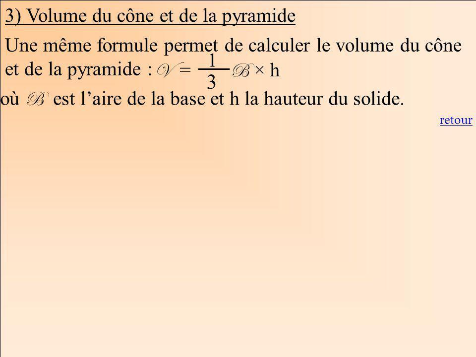 La Géométrie Autrement 3) Volume du cône et de la pyramide Une même formule permet de calculer le volume du cône et de la pyramide : V = B × h 1 3 où B est laire de la base et h la hauteur du solide.