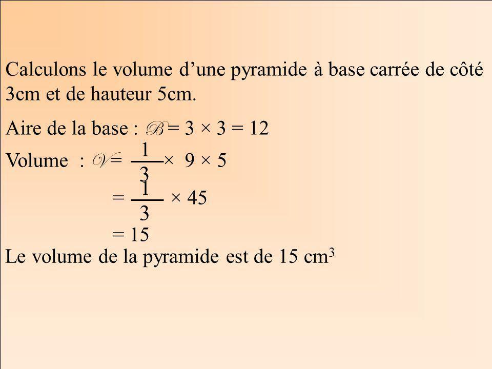 La Géométrie Autrement Calculons le volume dune pyramide à base carrée de côté 3cm et de hauteur 5cm. Aire de la base : B = 3 × 3 = 12 Volume : V = ×