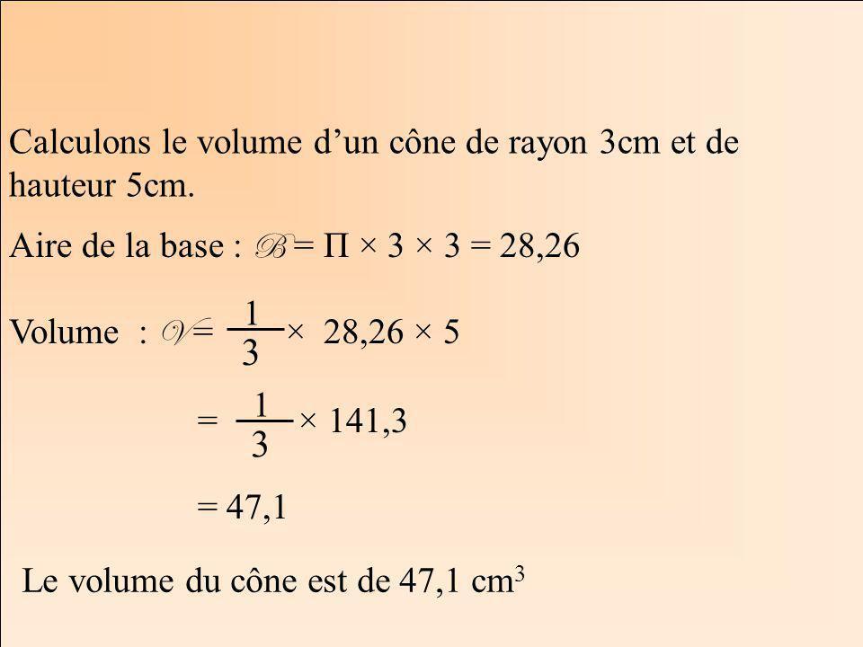 La Géométrie Autrement Calculons le volume dun cône de rayon 3cm et de hauteur 5cm. Aire de la base : B = Π × 3 × 3 = 28,26 Volume : V = × 28,26 × 5 =