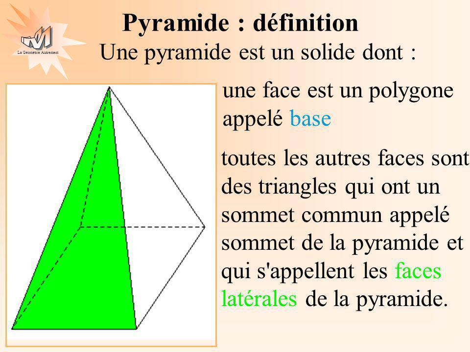 La Géométrie Autrement Une pyramide est un solide dont : une face est un polygone appelé base toutes les autres faces sont des triangles qui ont un sommet commun appelé sommet de la pyramide et qui s appellent les faces latérales de la pyramide.