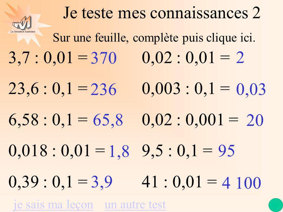 La Géométrie Autrement Je teste mes connaissances 2 3,7 : 0,01 = 23,6 : 0,1 = 6,58 : 0,1 = 0,018 : 0,01 = 0,39 : 0,1 = 0,02 : 0,01 = 0,003 : 0,1 = 0,02 : 0,001 = 9,5 : 0,1 = 41 : 0,01 = 370 236 65,8 1,8 3,9 2 0,03 20 95 4 100 je sais ma leçonun autre test Sur une feuille, complète puis clique ici.