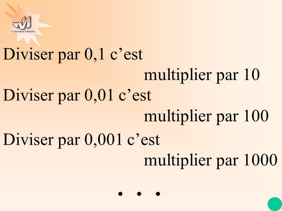 La Géométrie Autrement Divisons 123 par 0,1 puis par 0,01 1 2 3 × 10 0 0, 1 1230 0 1 2 3 0, 1 × 100 0 0 12300 0 Oh non ! plus jamais ça, retenons la r