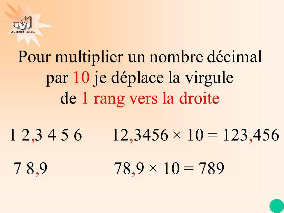 1 2 3 4 5 6 Pour multiplier un nombre décimal par 10 je déplace la virgule de 1 rang vers la droite 7 8 9, 12,3456 × 10 = 123,456, 78,9 × 10 = 789