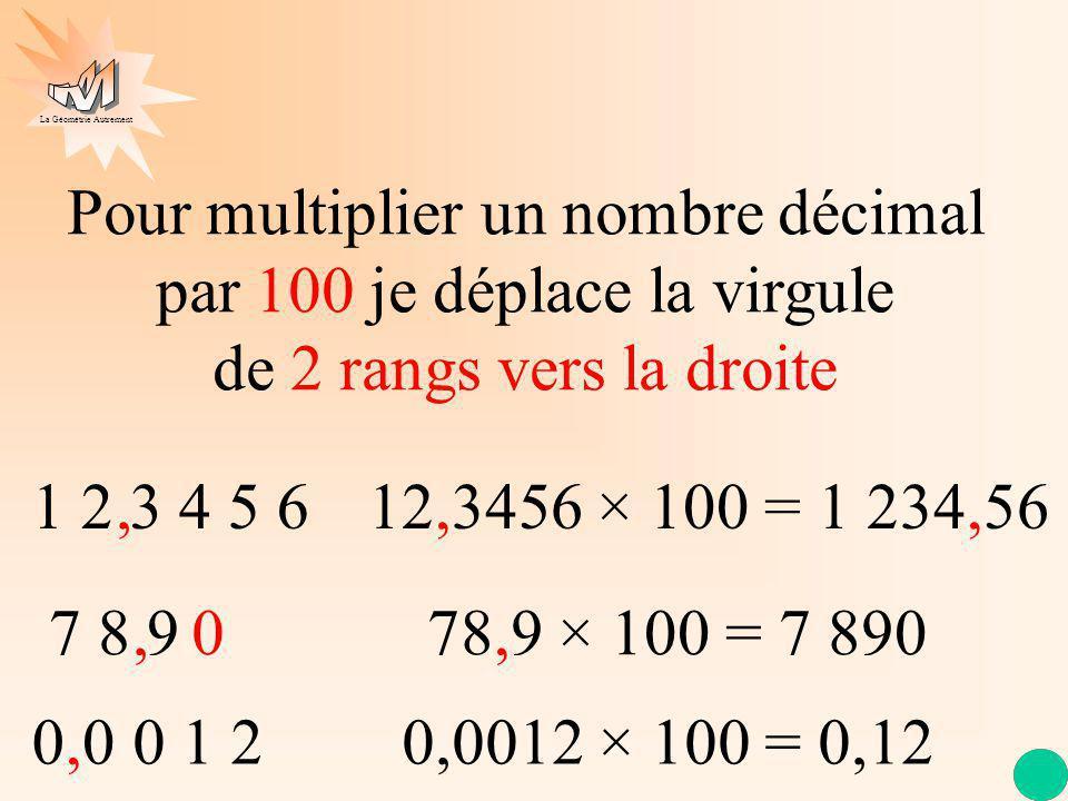 La Géométrie Autrement 1 2 3 4 5 6 Pour multiplier un nombre décimal par 100 je déplace la virgule de 2 rangs vers la droite 7 8 9, 12,3456 × 100 = 1 234,56, 78,9 × 100 = 7 890 0 000 1 2, 0,0012 × 100 = 0,12
