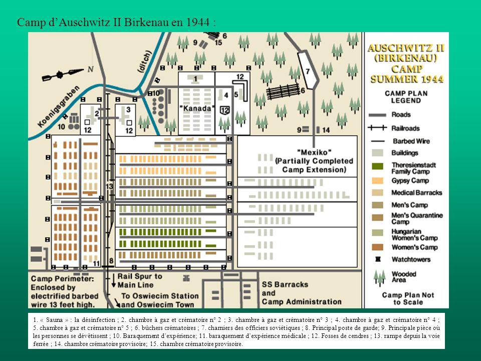 Camp dAuschwitz II Birkenau en 1944 : 1. « Sauna » : la désinfection ; 2. chambre à gaz et crématoire n° 2 ; 3. chambre à gaz et crématoire n° 3 ; 4.