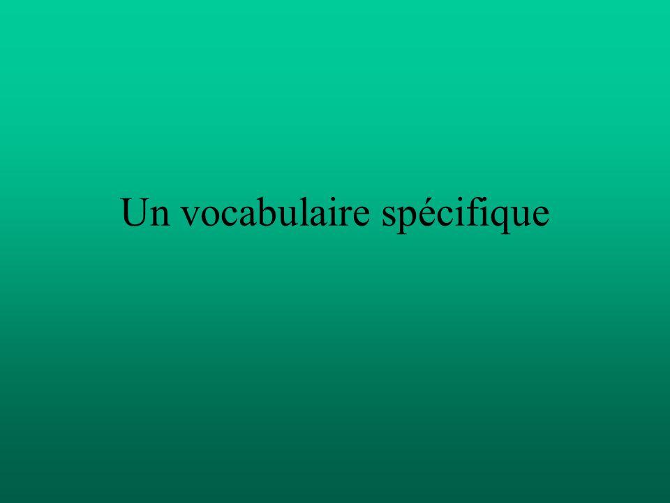 Un vocabulaire spécifique
