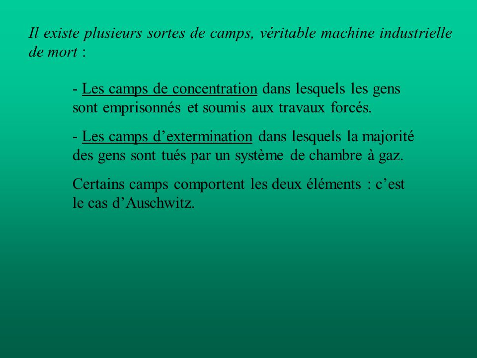 - Les camps de concentration dans lesquels les gens sont emprisonnés et soumis aux travaux forcés. - Les camps dextermination dans lesquels la majorit