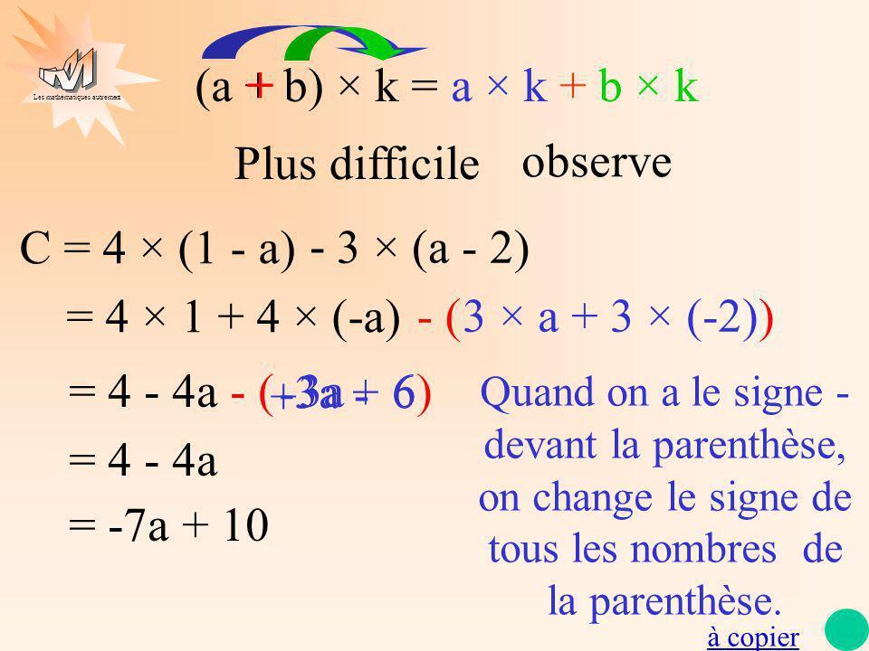 Les mathématiques autrement C = 4 × (1 - a) = 4 × 1 + 4 × (-a) = 4 - 4a - ( 3a 6) = 4 - 4a = -7a + 10 Quand on a le signe - devant la parenthèse, on c