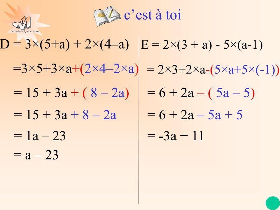 Les mathématiques autrement cest à toi D = 3×(5+a) + 2×(4–a) =3×5+3×a+(2×4–2×a) = 15 + 3a + ( 8 – 2a) = 15 + 3a + 8 – 2a = 1a – 23 = a – 23 = 2×3+2×a-