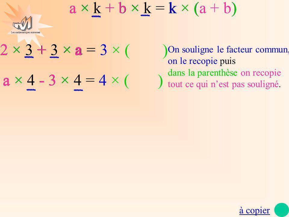 Les mathématiques autrement 2 × 3 + 3 × a = + a 3 × (×× 22 + a ) a × 4 - 3 × 4 = 4 ×××(- a a -33 ) à copier On souligne le facteur commun, on le recop