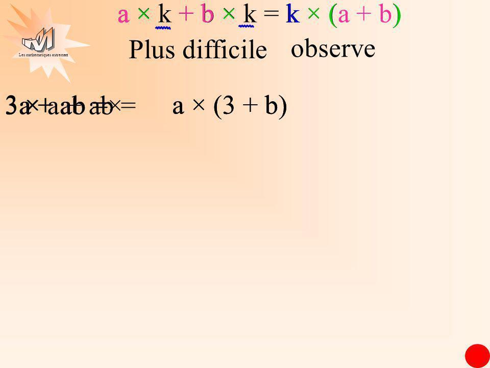 Les mathématiques autrement a × (3 + b) a × (3 + b) a + ab = 3 × a + a 3a + ab = a × k + b × k = k × (a + b) k × (a+ b) ×× a Plus difficile observe ×