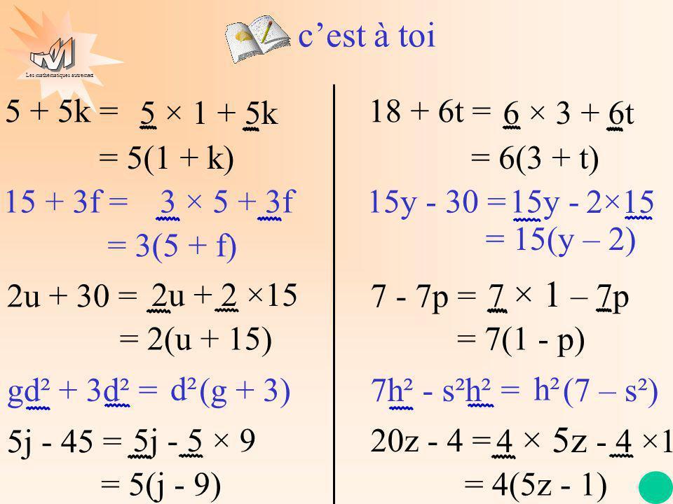 Les mathématiques autrement gd² + 3d² = 15 + 3f = d² (g + 3) 5 + 5k = 5 × 1 + 5k = 5(1 + k) 3 × 5 + 3f = 3(5 + f) 2u + 30 = 2u + 2 ×15 = 2(u + 15) ces