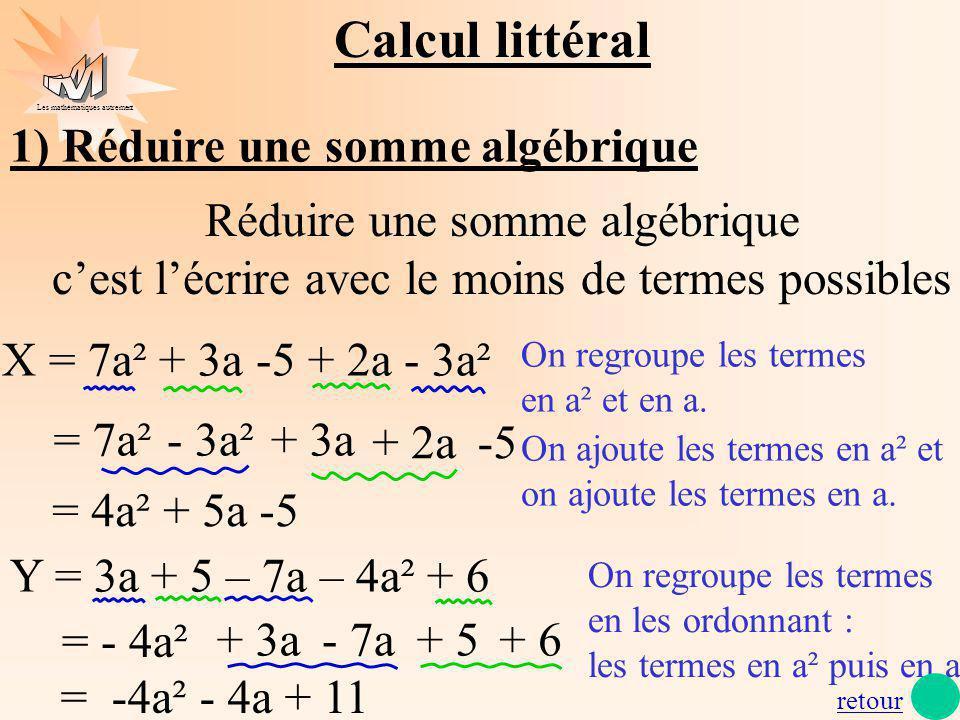 Les mathématiques autrement On ajoute les termes en a² et on ajoute les termes en a. + 3a Réduire une somme algébrique cest lécrire avec le moins de t