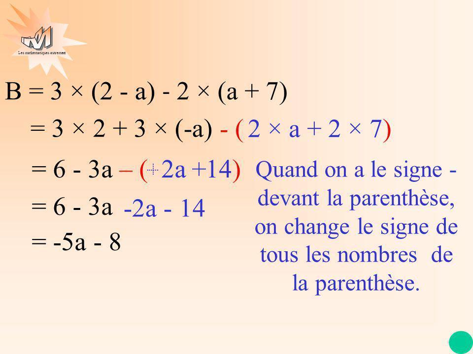 Les mathématiques autrement B = 3 × (2 - a) = 3 × 2 + 3 × (-a) = 6 - 3a – ( 2a 14) = 6 - 3a = -5a - 8 Quand on a le signe - devant la parenthèse, on c