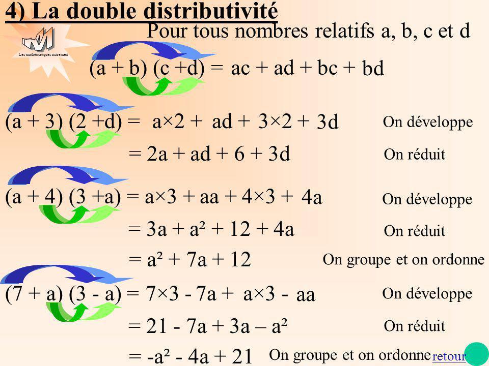 Les mathématiques autrement 4) La double distributivité (a + b) (c +d) =ac +ad +bc + bd (a + 3) (2 +d) =a×2 +ad +3×2 + 3d = 2a + ad + 6 + 3d On dévelo