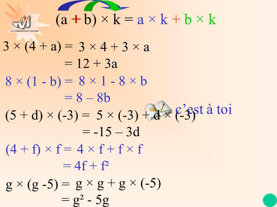 Les mathématiques autrement cest à toi 3 × (4 + a) = 8 × (1 - b) = (5 + d) × (-3) = (4 + f) × f = g × (g -5) = 3 × 4 + 3 × a = 12 + 3a 8 × 1 - 8 × b =