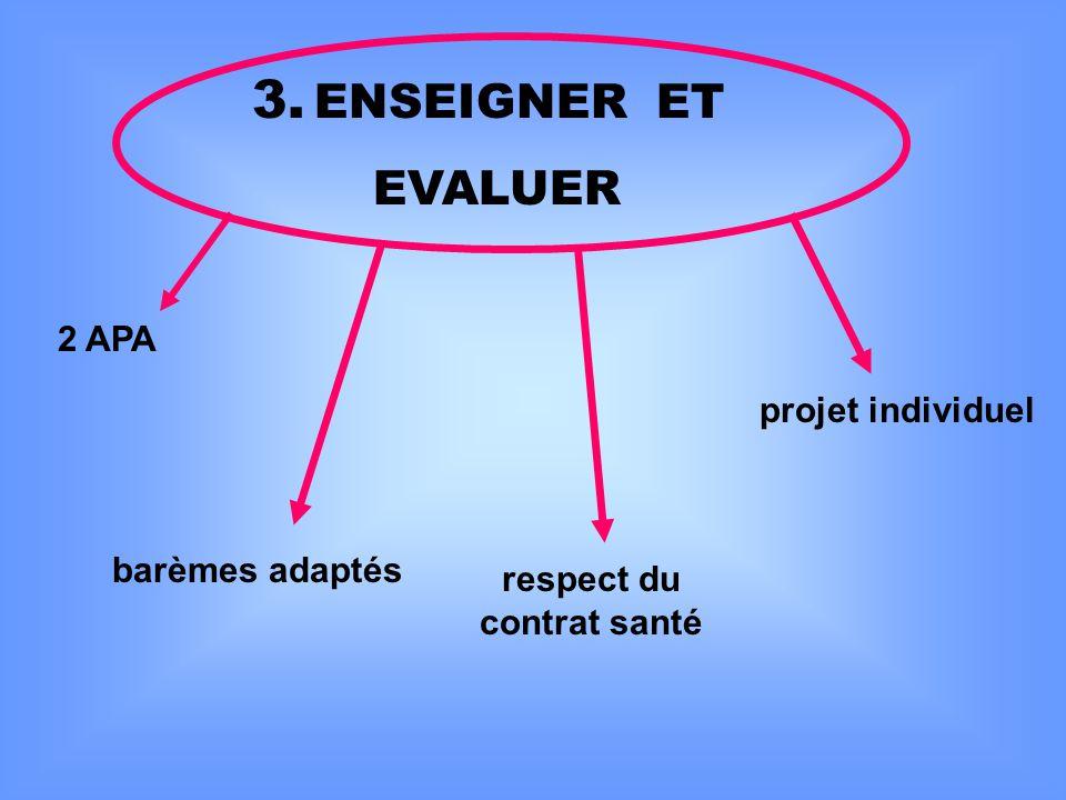 3. ENSEIGNER ET EVALUER projet individuel 2 APA barèmes adaptés respect du contrat santé